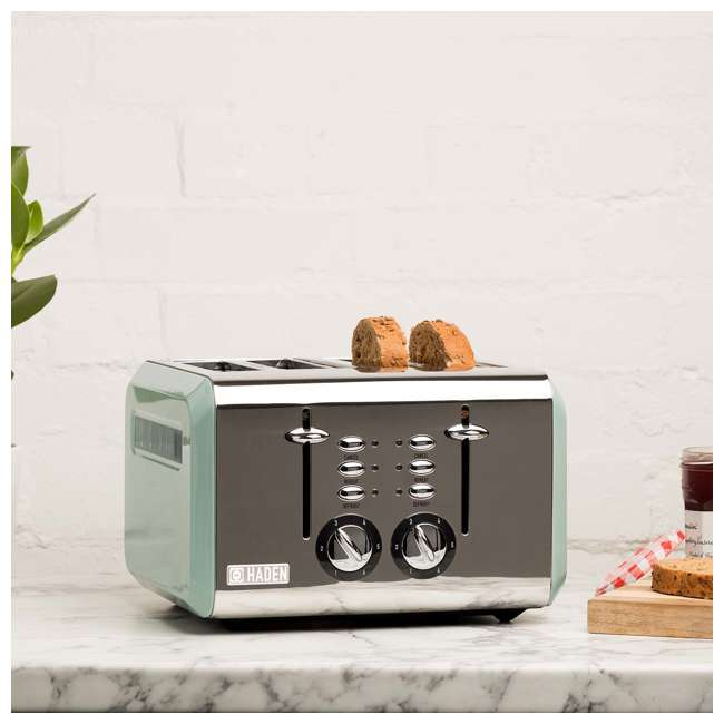 75009 Haden Cotswold 4-Slice Wide Slot Stainless Steel Body Retro Toaster, Sage Green 1
