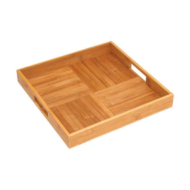 LP-8866 Lipper International Wooden Bamboo Criss Cross Serving Tray w/ 2 Cutout Handles
