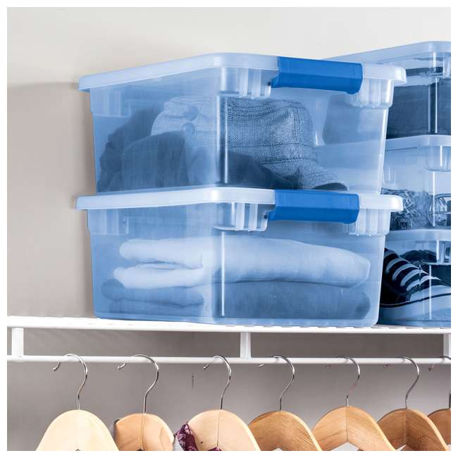 24 x 17534512 Sterilite ClearView Latch 15 Quart Plastic Storage Container Bin, Blue (24 Pack) 2