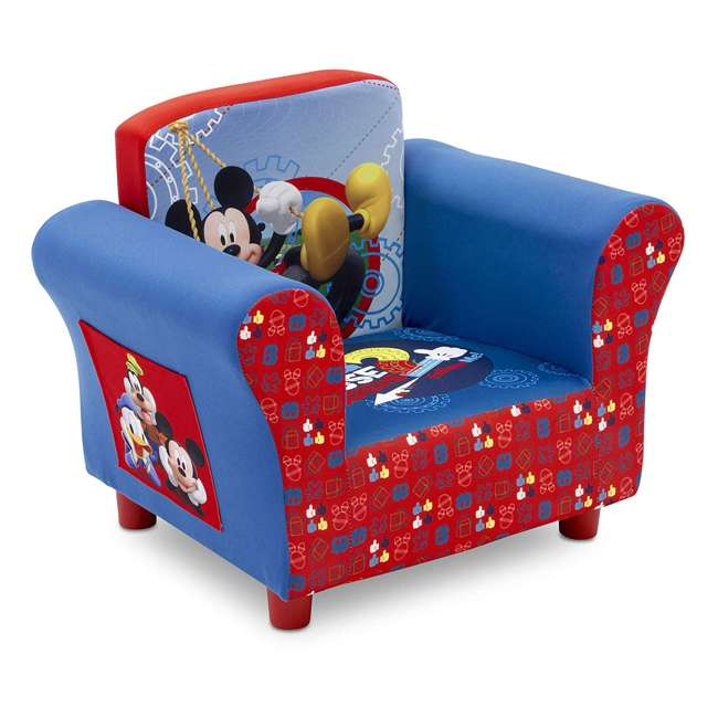 UP83509MM-1051 Delta Children Disney Mickey Mouse Upholstered Toddler Chair with Side Pockets