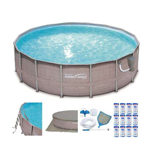 Summer Waves Elite 16 39 X 48 Above Ground Frame Pool Set 12 Coleman Type Iii A C Filter