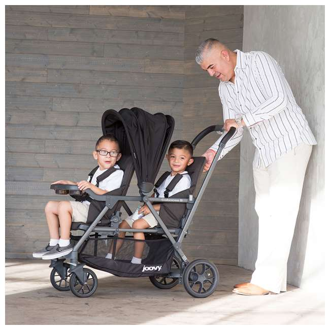 8207 + 9107 Joovy Caboose S Stroller with Canopy, Black Melange + Caboose Add On Rear Seat 8