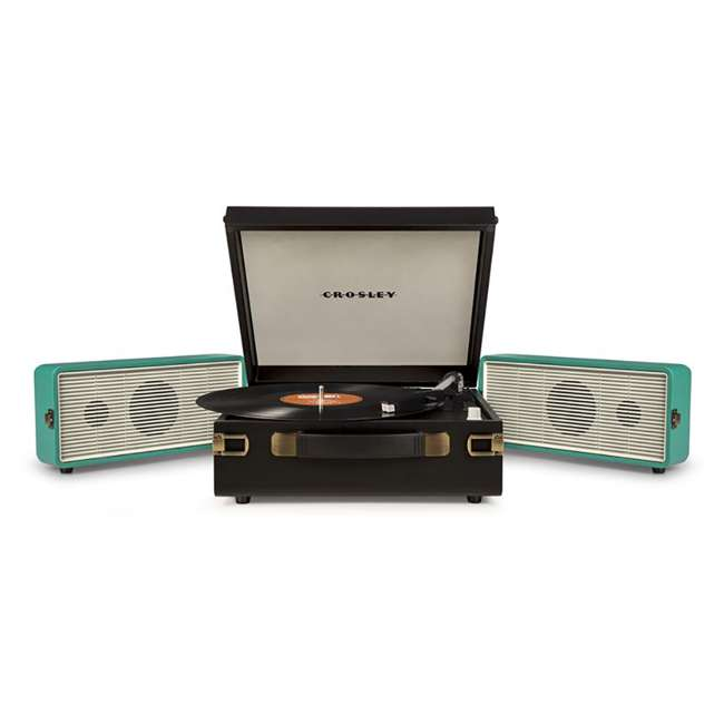 CR6230A-TU Crosley Snap USB Enabled Portable Turntable, Black/Turquoise 3