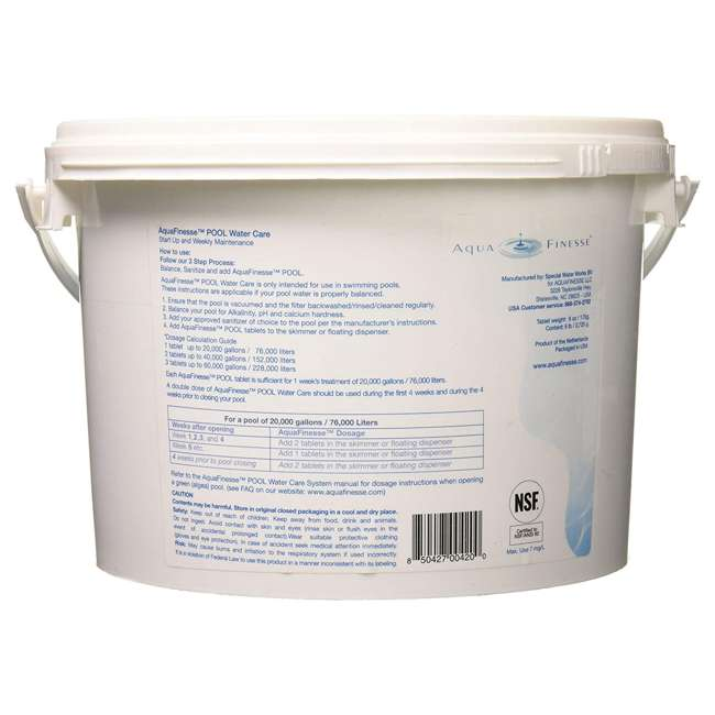 956330 AquaFinesse Pool Hot Tub Clean Water Care Tablet Pail, 16 6 Ounce Tablets 1
