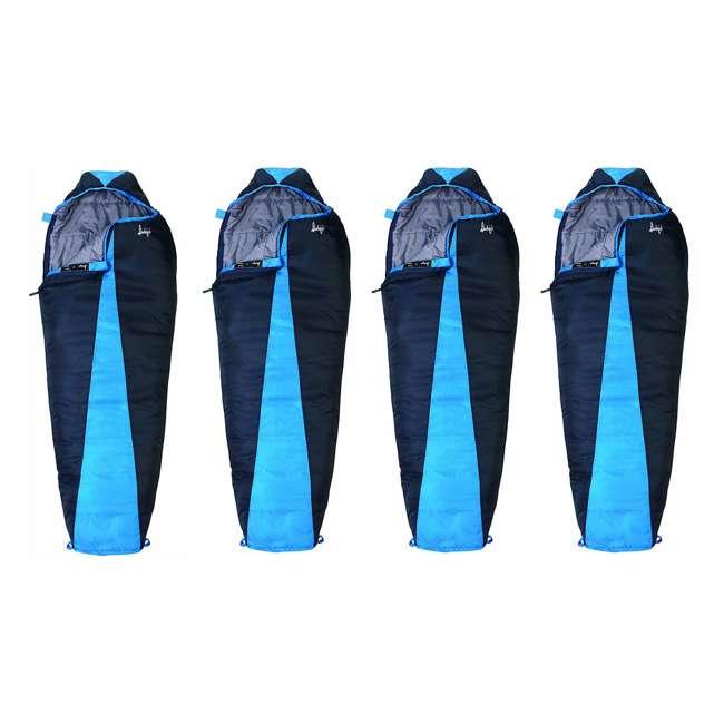 4 x 51723811RR Slumberjack Latitude 40-Degree Polyester Sleeping Bag, Blue (4 Pack)