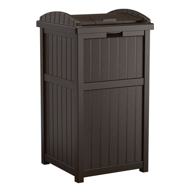 GH1732J-U-A Suncast Trash Hideaway Outdoor Garbage Bin, Java (Open Box) (2 Pack)