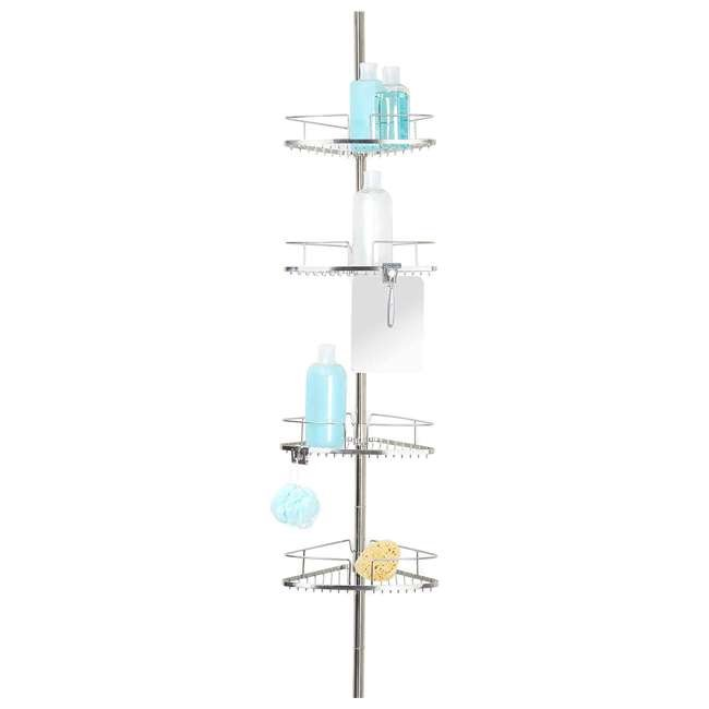 13406 Better Living Fineline 4-Tier Stainless Steel Shower Storage Caddy with Mirror 2
