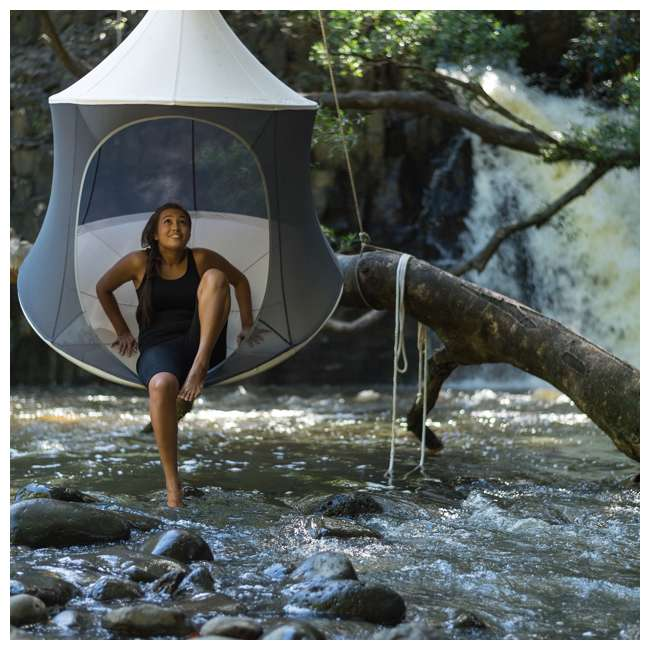 TP1600TC + BYHT9001 TreePod Cabana 6' Hanging Mesh Daybed Tent, Terracotta w/ Stand 3
