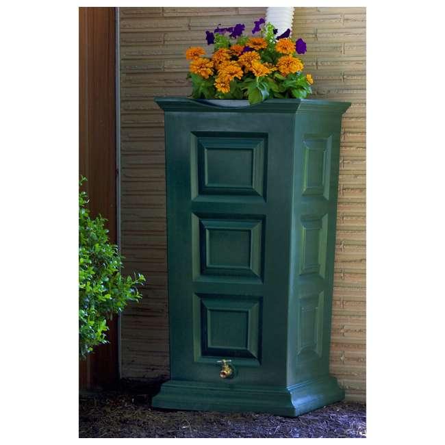 SV-RS-GRN Good Ideas Savannah Outdoor 55 Gallon Flat Back Rain Barrel and Planter, Green 2
