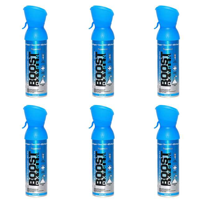 6 x 602-BOOST Boost Oxygen 5-Liter Canned  Oxygen Canister, Peppermint (6 Pack)