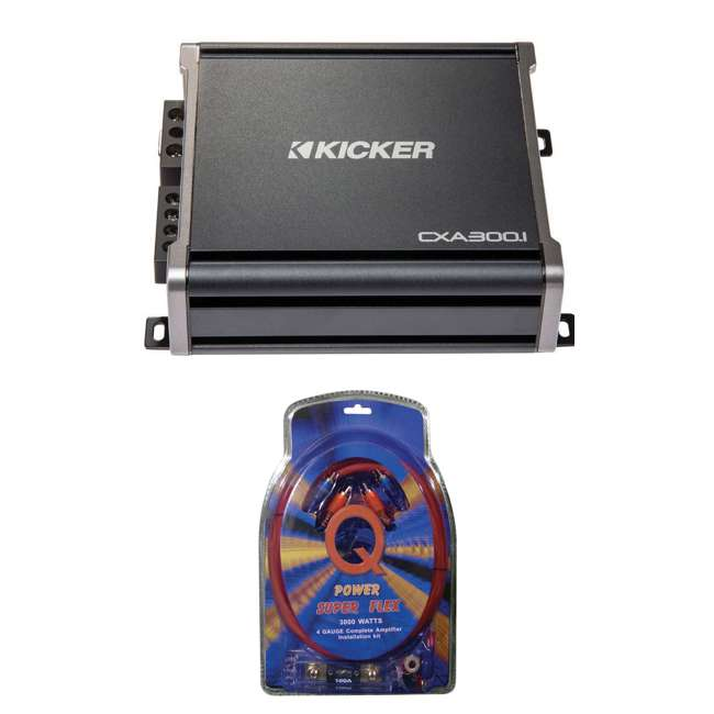 Kicker 43CXA3001 600W Mono Cl D Amplifier with Wiring Kit ... on rockford fosgate wiring kit, jl audio wiring kit, kicker amp with 8, 0 gauge amp kit,