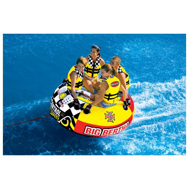 53-1329 + AHTR-42 Sportsstuff 1-4 Person Boat Lake Tube | Airhead Boat 2 Section Tube Tow Rope for 4 Rider 3