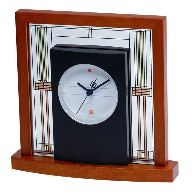 B7756 Bulova Clocks Willits Cherry Finish Table Clock with Numberless Dial