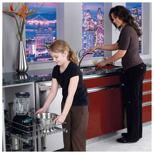 """5WB2-1222-CR Rev-A-Shelf 12"""" Wide 22"""" Deep Base Kitchen Cabinet 2 Tier Pull Out Wire Basket 9"""