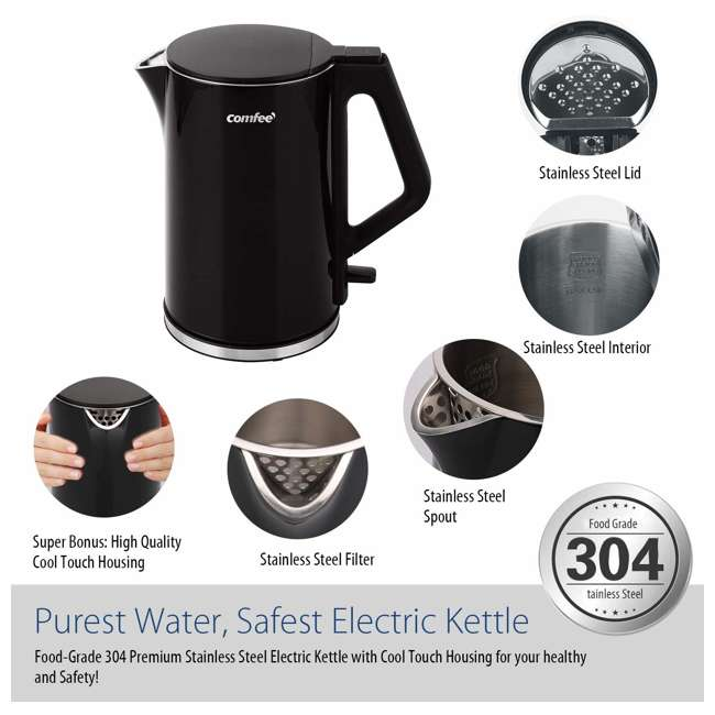 MK-15H01A1B Comfee' Stainless Steel Double Wall Cool Touch Cordless Electric Kettle, Black 7