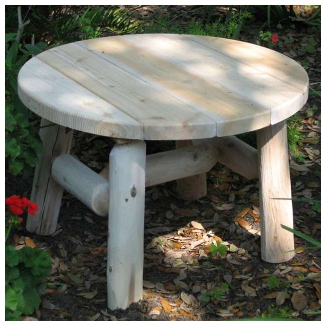 CF1227 Lakeland Mills 25 Inch White Cedar Log Wood Round Patio Coffee Table, Natural 1
