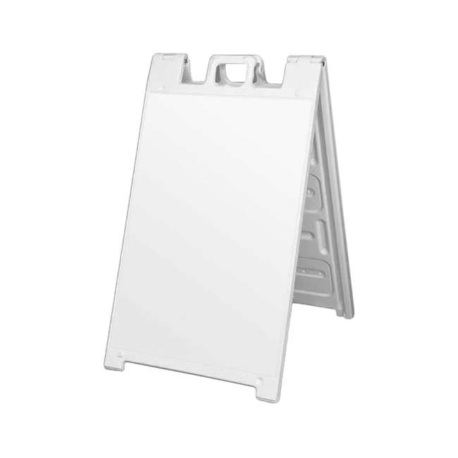 4 x 130NS-U-A Plasticade Portable Folding Sidewalk Double Sided Sign, White (Open Box)(4 Pack)