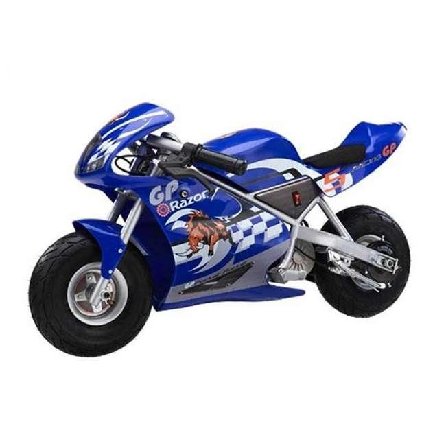 15120040 + 97775 + 96785 Razor Blue Pocket Rocket With Black Sport Helmet And Pad Set  1