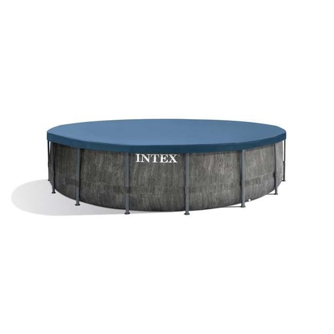 26741EH Intex 15ft x 48in Greywood Prism Steel Frame Pool Set with Cover, Ladder, & Pump 1