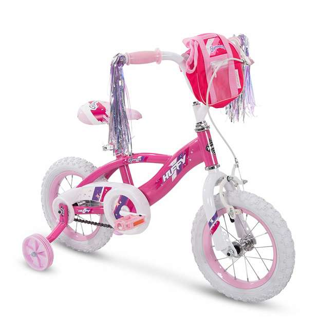 72038 Huffy Glimmer 12 Inch Age 3-5 Kids Bike Girls Bicycle with Training Wheels, Pink