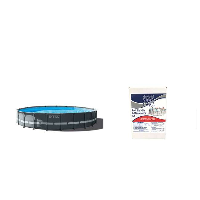 26333EH + QLC-42005 Intex 20ft x 48in Above Ground Swimming Pool Set + Qualco Chemical Maintenance Kit