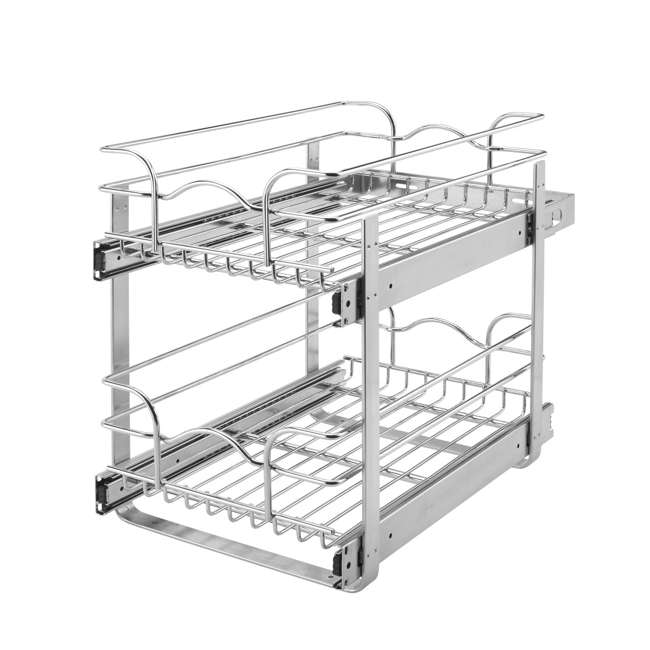 """5WB2-1222-CR Rev-A-Shelf 12"""" Wide 22"""" Deep Base Kitchen Cabinet 2 Tier Pull Out Wire Basket"""