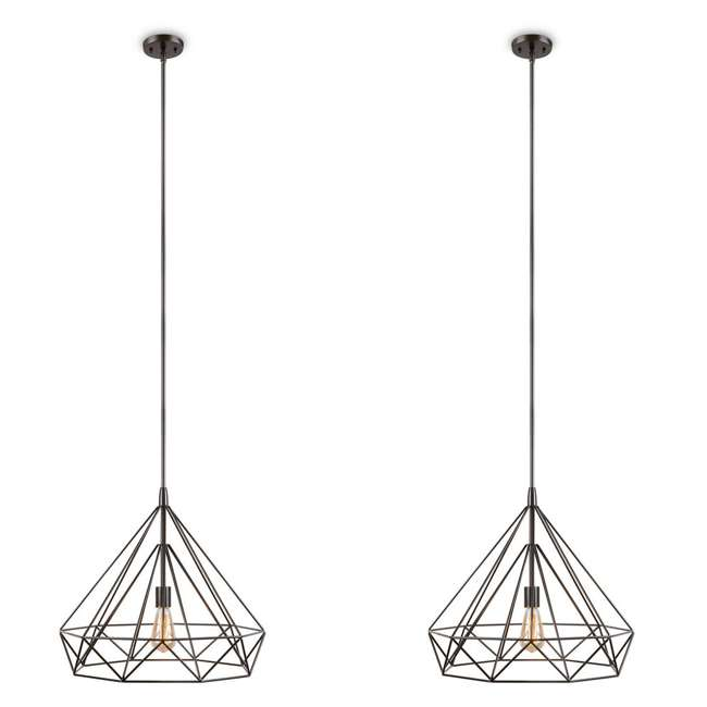 PLC-4110802U9 Philips Gabbia 18-Inch Pendant Light, Oiled Bronze (2 Pack)