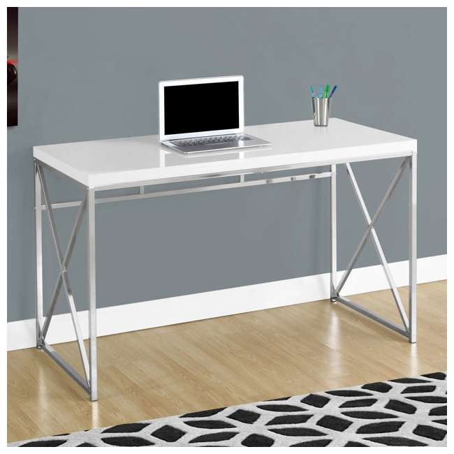 "MS-VM7205-U-B Monarch Specialties 48"" Modern Contemporary Computer Desk, Glossy White (Used) 1"