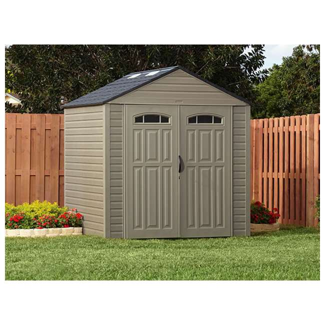 Rubbermaid xl 7 39 x7 39 outdoor storage building shed for Narrow golf cart