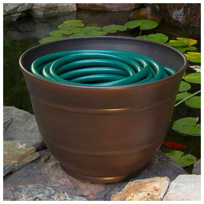 LBG-1924-U-A Liberty Garden Banded High Density Resin Hose Pot w/ Drainage (Open Box)(2 Pack) 2