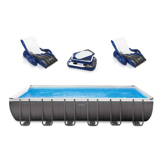"26361EH + 2 x 58868EP + 58821EP Intex 24' x 12' x 52"" Ultra Frame Rectangular Swimming Pool Set"