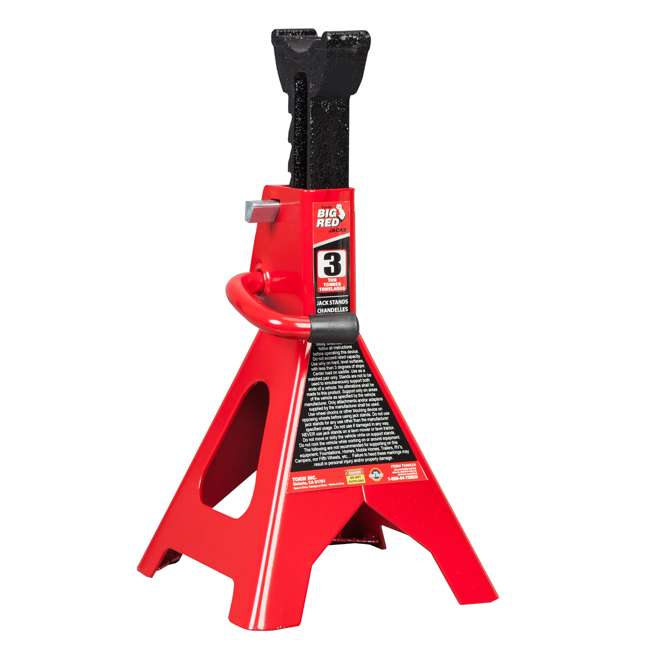 TOR-T43002A Torin Big Red 3 Ton Capacity Double Locking Steel Jack Stands, 1 Pair (2 Pack) 5