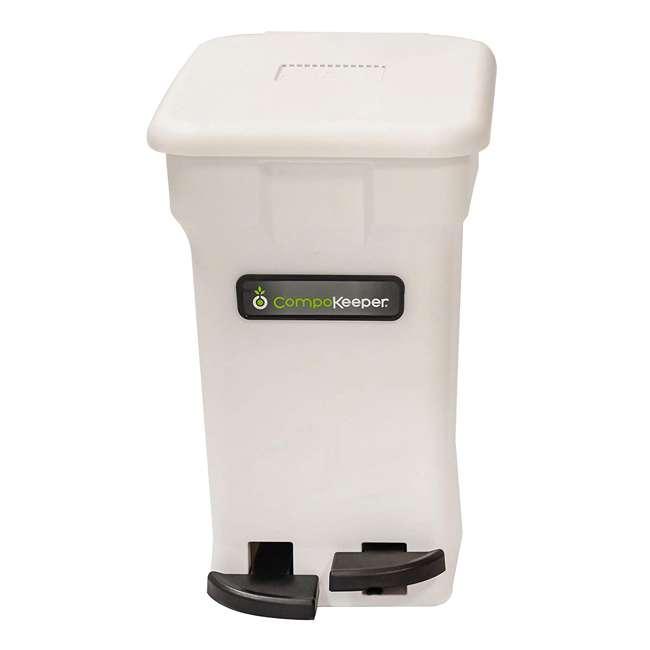 CK-6GL-BIN-WH-S CompoKeeper Kitchen 6 Gallon Compost Organic Waste Kitchen Bin Trash Can, White