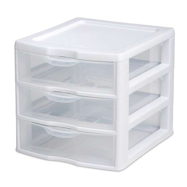 12 x 20738006-U-A Sterilite Small Compact Countertop 3 Drawer Desktop Storage (Open Box) (12 Pack) 1