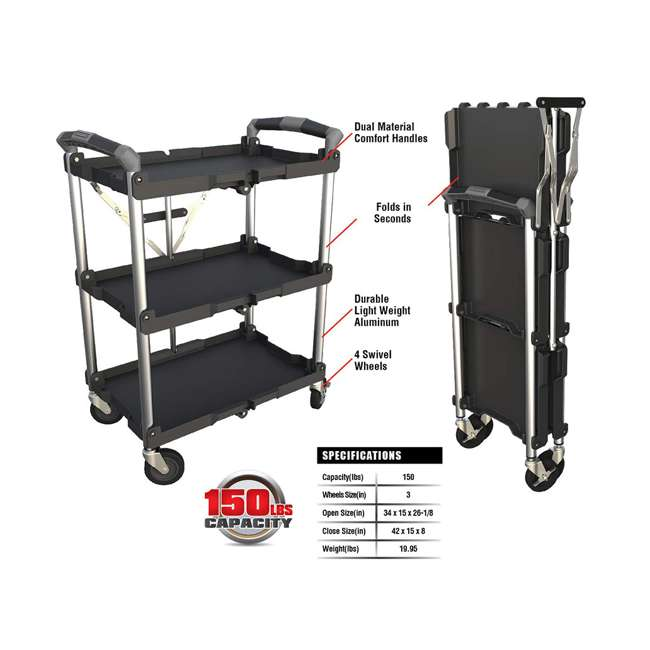 85-188 Olympia Tools 85-188 Pack n Roll Collapsible Storage Service Cart with Wheels 2