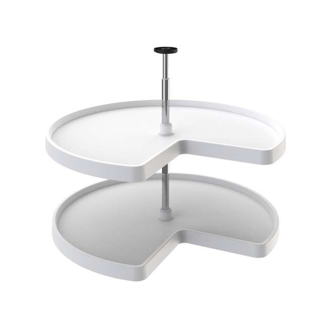 3472-32-11-52 Rev-A-Shelf 3472-32-11-52-22 32 Inch White Polymer Kidney 2 Shelf Lazy Susan Set