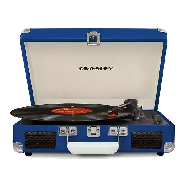 CR8005D-BL Crosley Cruiser Deluxe Portable Bluetooth Turntable, Blue 1