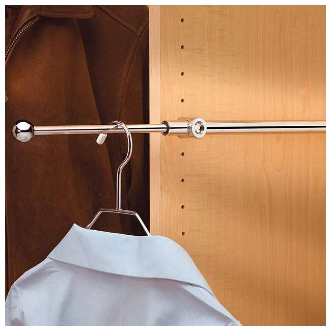 CVR-14-CR Rev-A-Shelf Designer Series 14 Inch Metal Adjustable Closet Rod, Chrome (2 Pack) 3