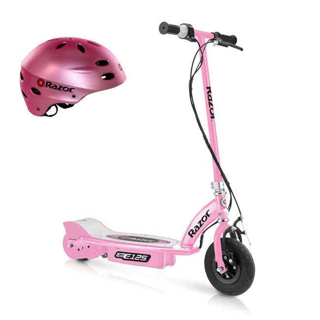 13111163 + 97783 Razor E125 Girls Pink Electric Scooter and Razor V17 Youth Helmet, Satin Pink