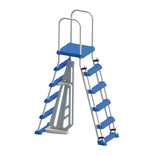 87950 + 87953 Swimline 48 Inch Pool Ladder with 9x36-Inch Vinyl Protective Pool Ladder Mat 1