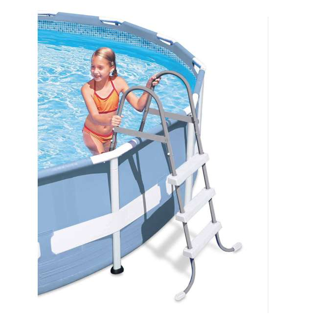 28065E + 87953 Intex Above Ground Steel Frame Pool Ladder 42-Inch + Protective Pool Ladder Mat 2