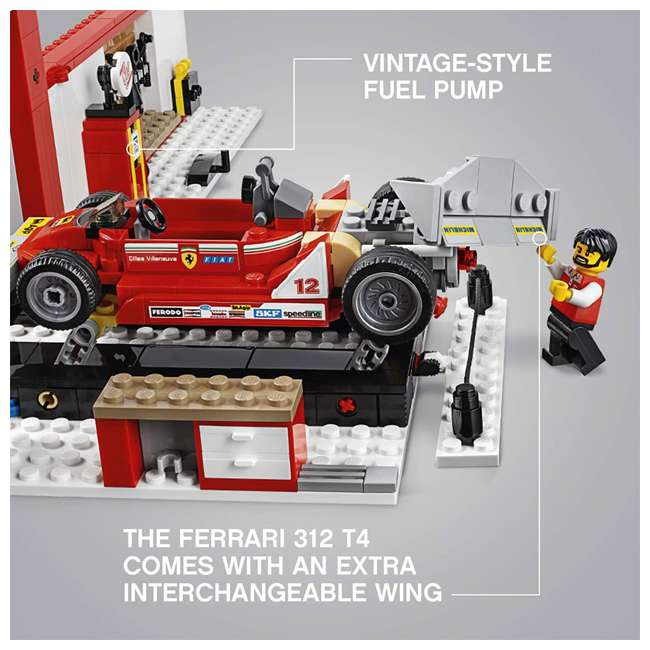 6212629 LEGO Speed Champions 841 Piece Ferrari Ultimate Garage Building Kit for Kids 4