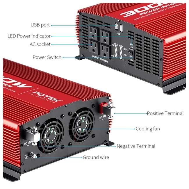MA3000-1121 Potek MA3000-1121 3000W 4 AC Outlet & 2 USB Port Portable Power Inverter, Red 4