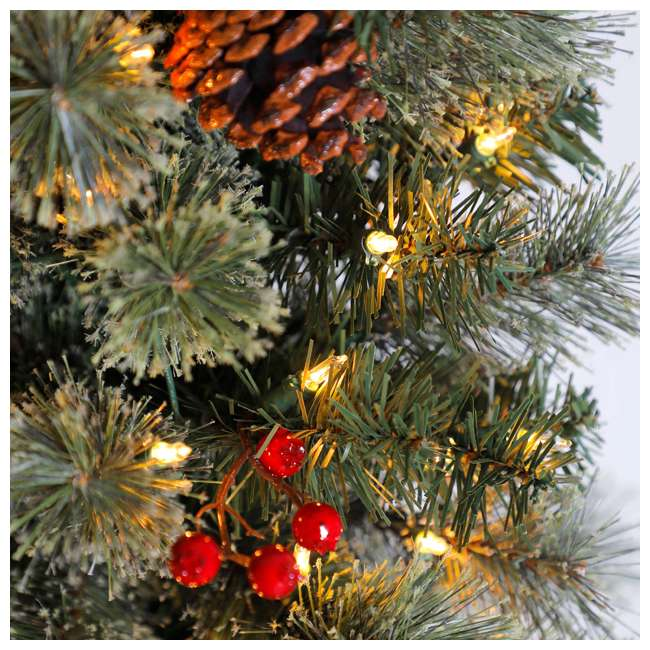 Christmas Tree With Pine Cones And Berries: Home Heritage 7-Foot Pre-Lit Pine Cone & Berry Slim