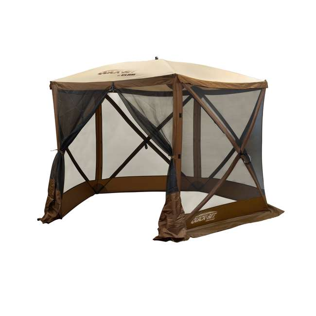 CLAM-VT-12875-U-B Clam QuickSet Venture Portable Camping Gazebo Canopy Shelter, Brown (Used)