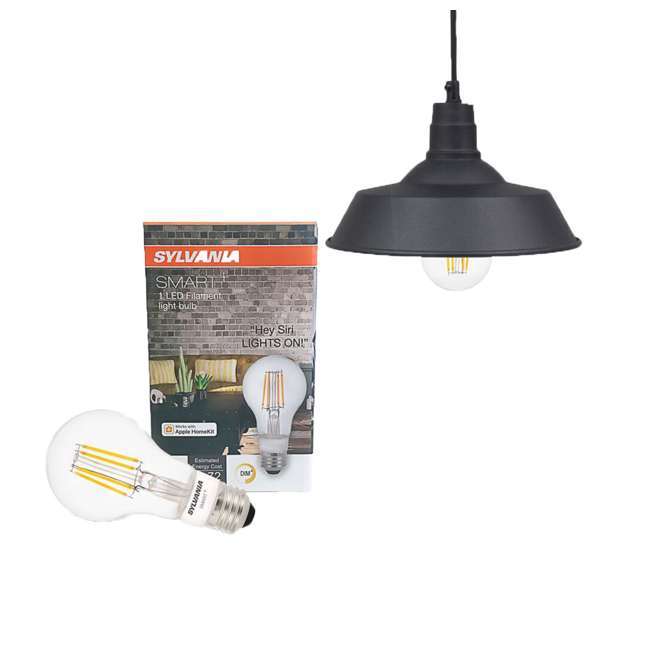 SYL-60053-U-A Sylvania LED Dimmable 60W Hudson Factory 12 Inch Pendant A19 Light (Open Box)