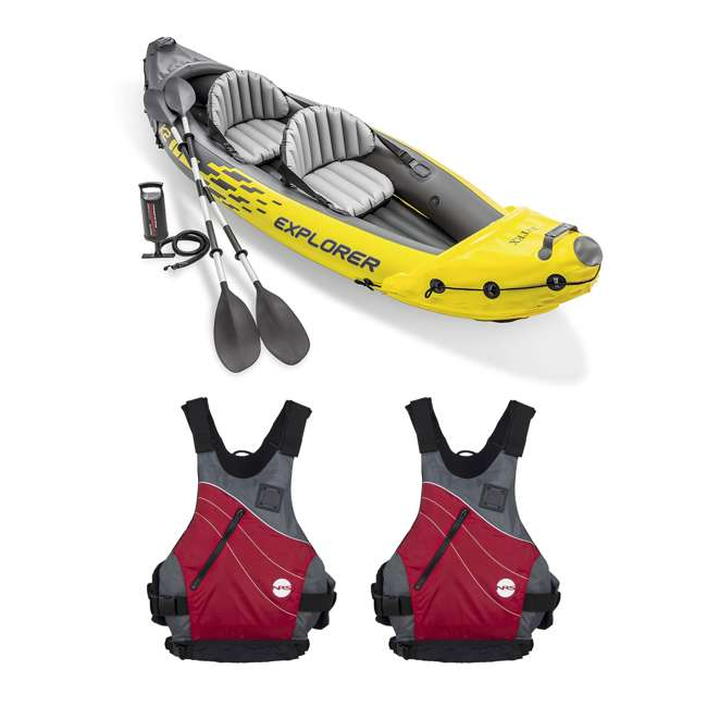 68307EP + 2 x NRS_40034_01_105 Intex Explorer Inflatable Kayak with Air Pump & Large XL Life Jacket (2 Pack)