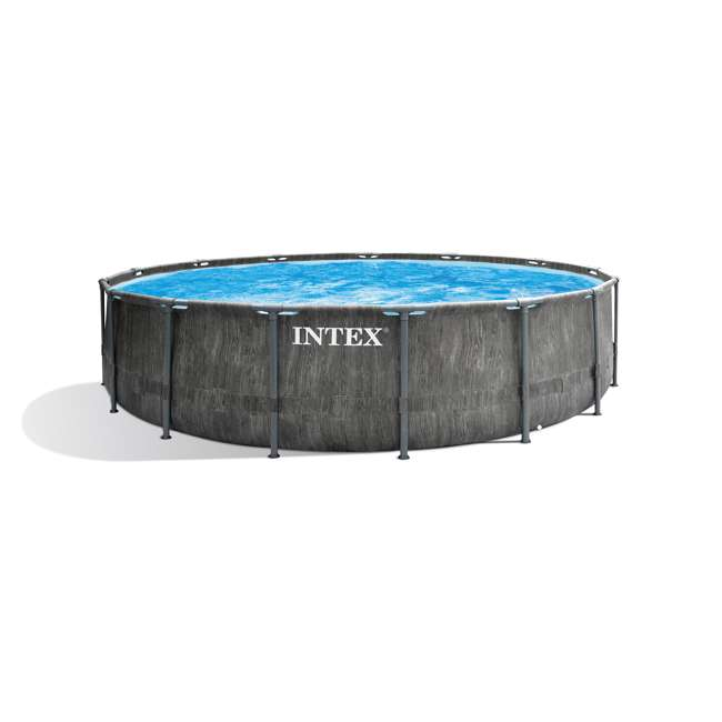 26741EH Intex 15ft x 48in Greywood Prism Steel Frame Pool Set with Cover, Ladder, & Pump 2