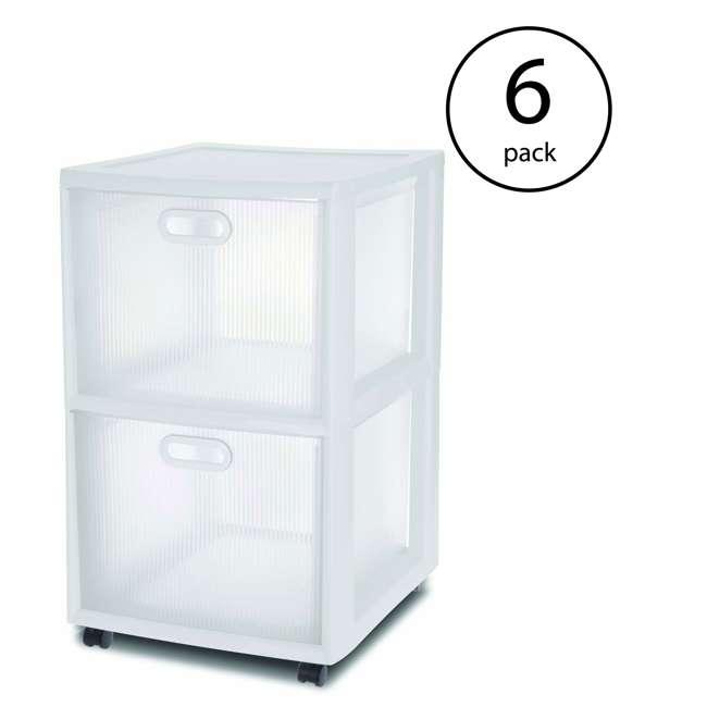 6 x 36208002  Sterilite Ultra 2-Drawer Portable Cart, White (6 Pack)