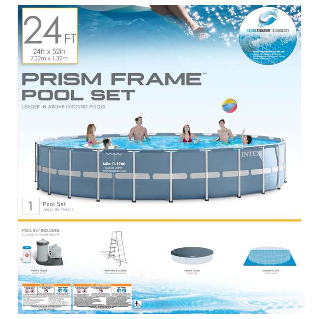 "26761EH + QLC-57620 Intex 24'x 52"" Prism Frame Pool w/ Ladder, Pump, & Winterizing Kit 6"